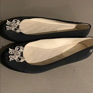 Chanel Flats Size 8.5 Bow Black